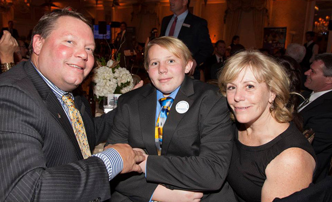 Mark and Mary Ellen Unger with Wish Kid Louis Unger