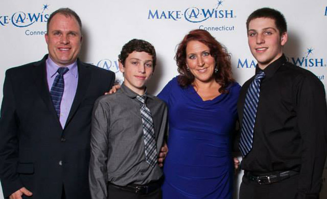 Wish Kid Caleb Gaylord and family
