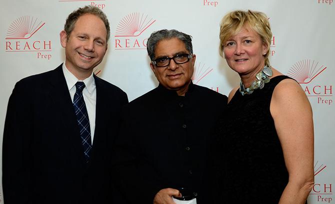 Rob Burnett, Deepak Chopra and Eunice Burnett