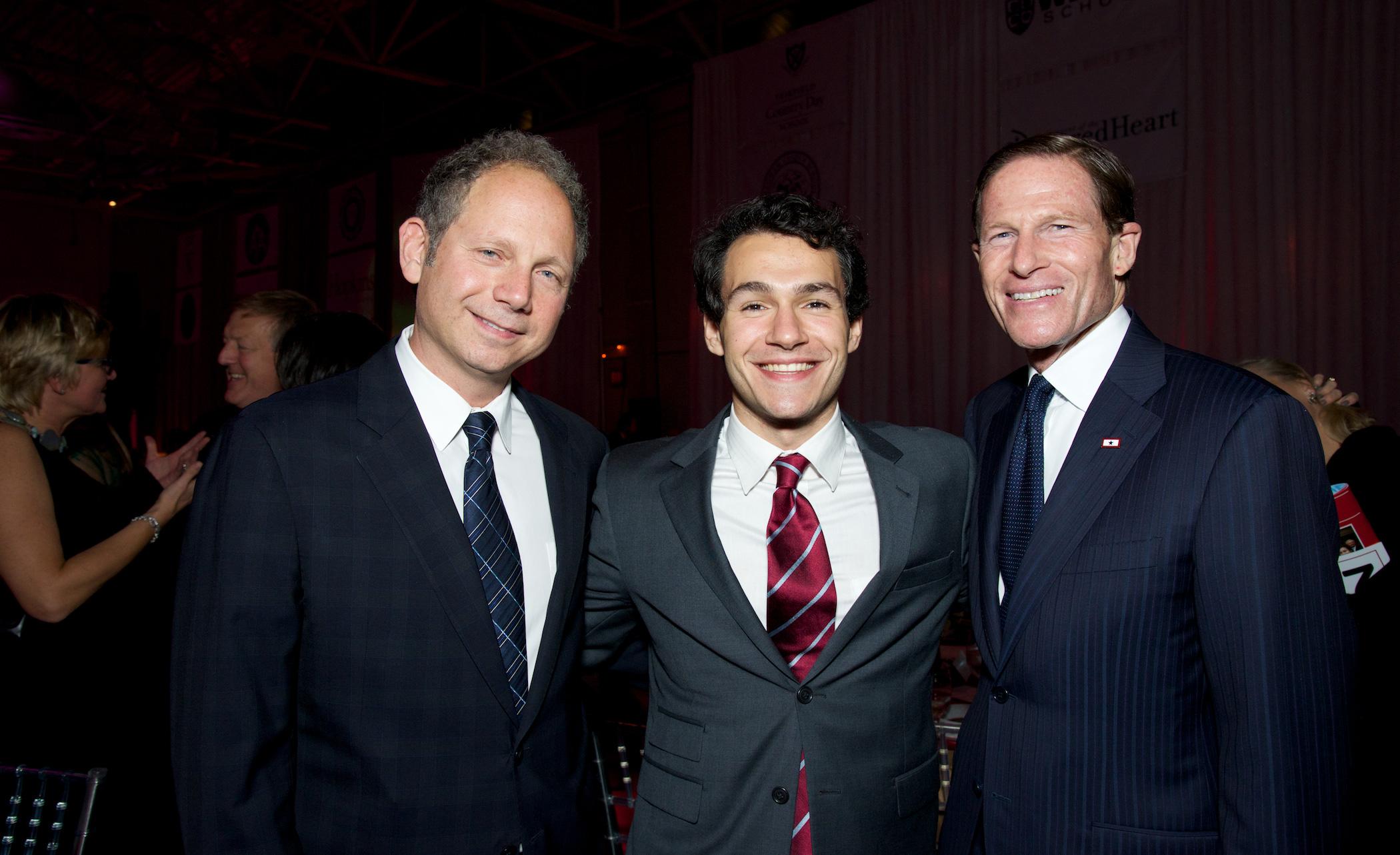 Masters of Ceremonies Rob Burnett, Honoree Jetson Leder-Luis and Senator Richard Blumenthal