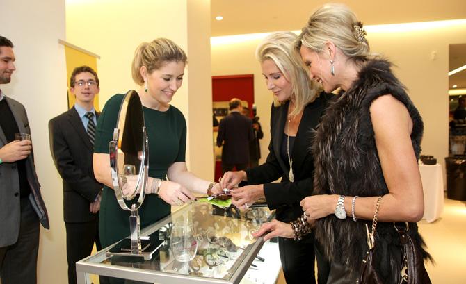 Dafina Laca showing Christine Calzolano and Izabella O'Brien jewelry
