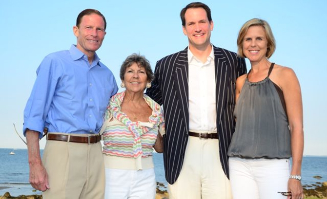 U.S. Senator Richard Blumenthal, Susie Baker, Congressman Jim Himes, and Mary Himes