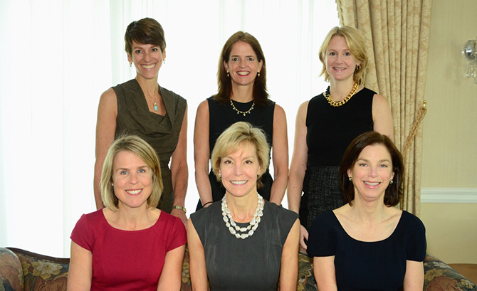 Front Row. L-R: Mary Scott Himes, Leslie Bhutani, Lindsay Culbertson-Back Row, Nicole Heath, Any Ford Keohane, Sophie Dowling
