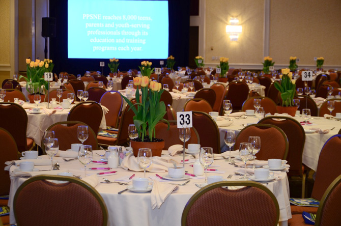 Tables and tulips inside the ballroom