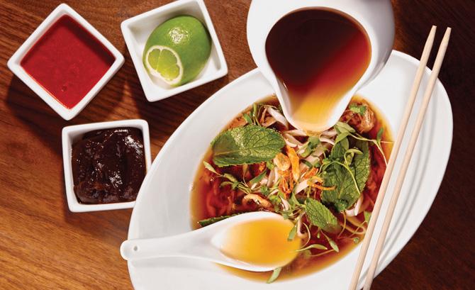 Vietnamese Chicken Noodles Soup with ramen noodles