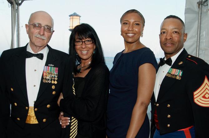 Rich Iannucci (master chief), Carol Leherr, Janice Saunders, 1 St. Sgt. Ernest Diaz (USMC)