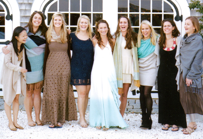 Friends of the bride from Greenwich Academy: Miyuki Arikawa, Caitin Toombs, Crissy Franz, Emily Parker, Evan, Brooke Townsend, Megan Henze, Crista Petrelli, Ashley Einhorn