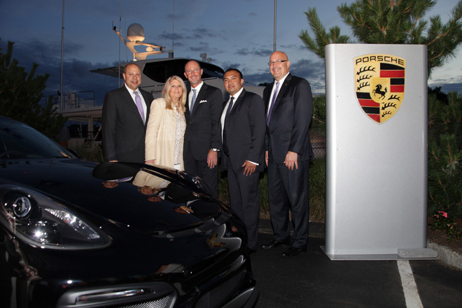 New Country Porsche of Greenwich:  Gilbert Castellon, Sharon Grant, Todd Bullock, Sajjad Bhuiyan, Bill Deichmeister — Photograph: Kristin Hynes