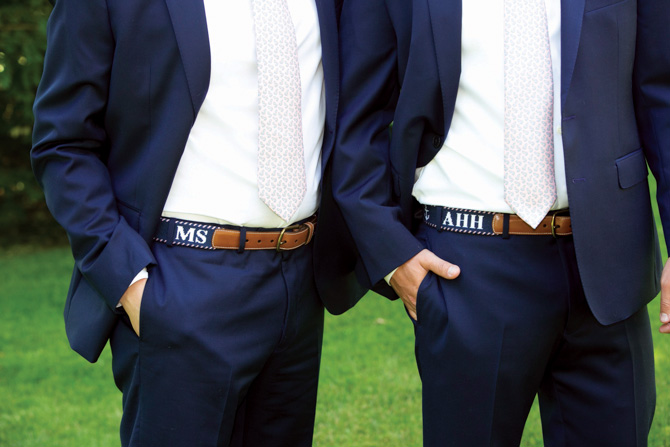 Handmade needlepoint belts for the groomsmen from The Village Ewe in Old Greenwich, owned by groom's mother, Estelle Hall
