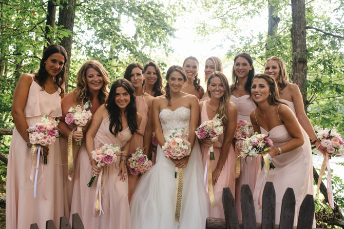 Jenny with her bridesmaids (many are friends from Greenwich High School)