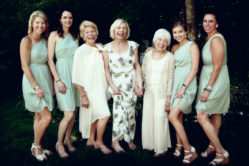 Meg Godfrey, Katherine Lundy, Bonnie Thompson Dixon, the bride, Marian Rigney, Nicole and Alexandra Walko