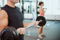 Series with man and woman at the gym, lifting weights, using the treadmill, etc.
