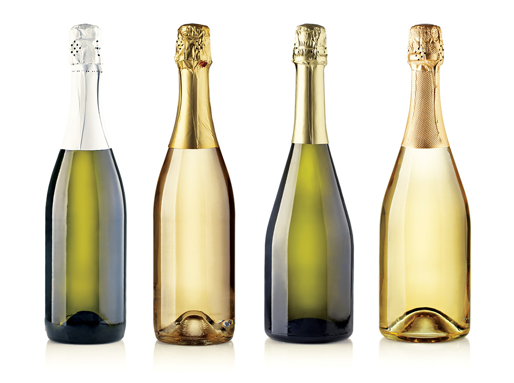 Set of champagne bottles. isolated on white background