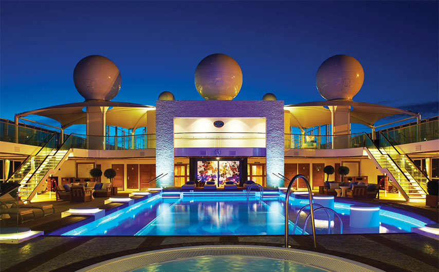Night view of the pool aboard The World