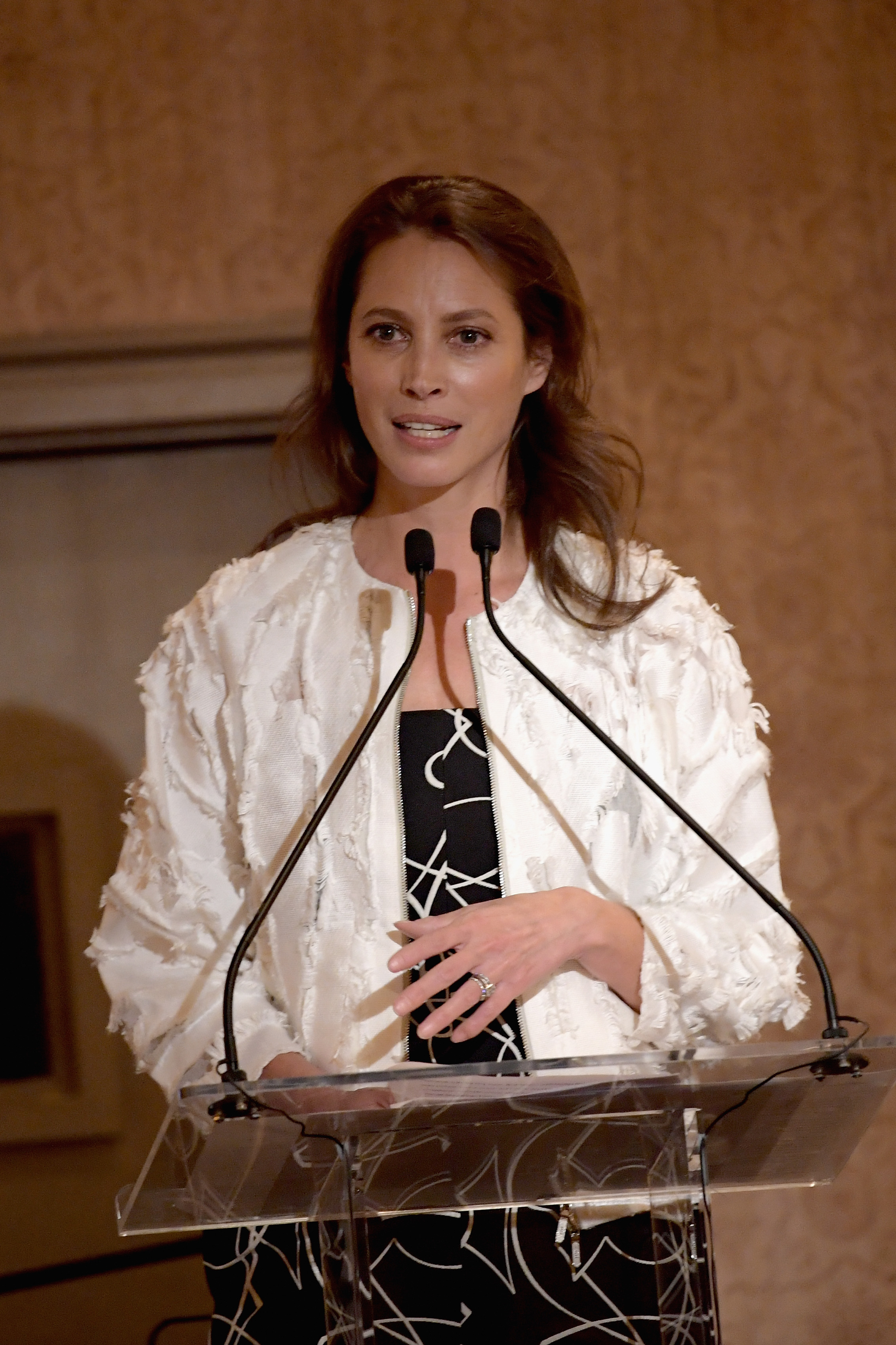 GREENWICH, CT - JUNE 01:  Christy Turlington speaks on stage during the Changemaker Honoree Gala during the Greenwich International Film Festival on June 1, 2017 in Greenwich, Connecticut.  (Photo by Ben Gabbe/Getty Images for Greenwich International Film Festival)