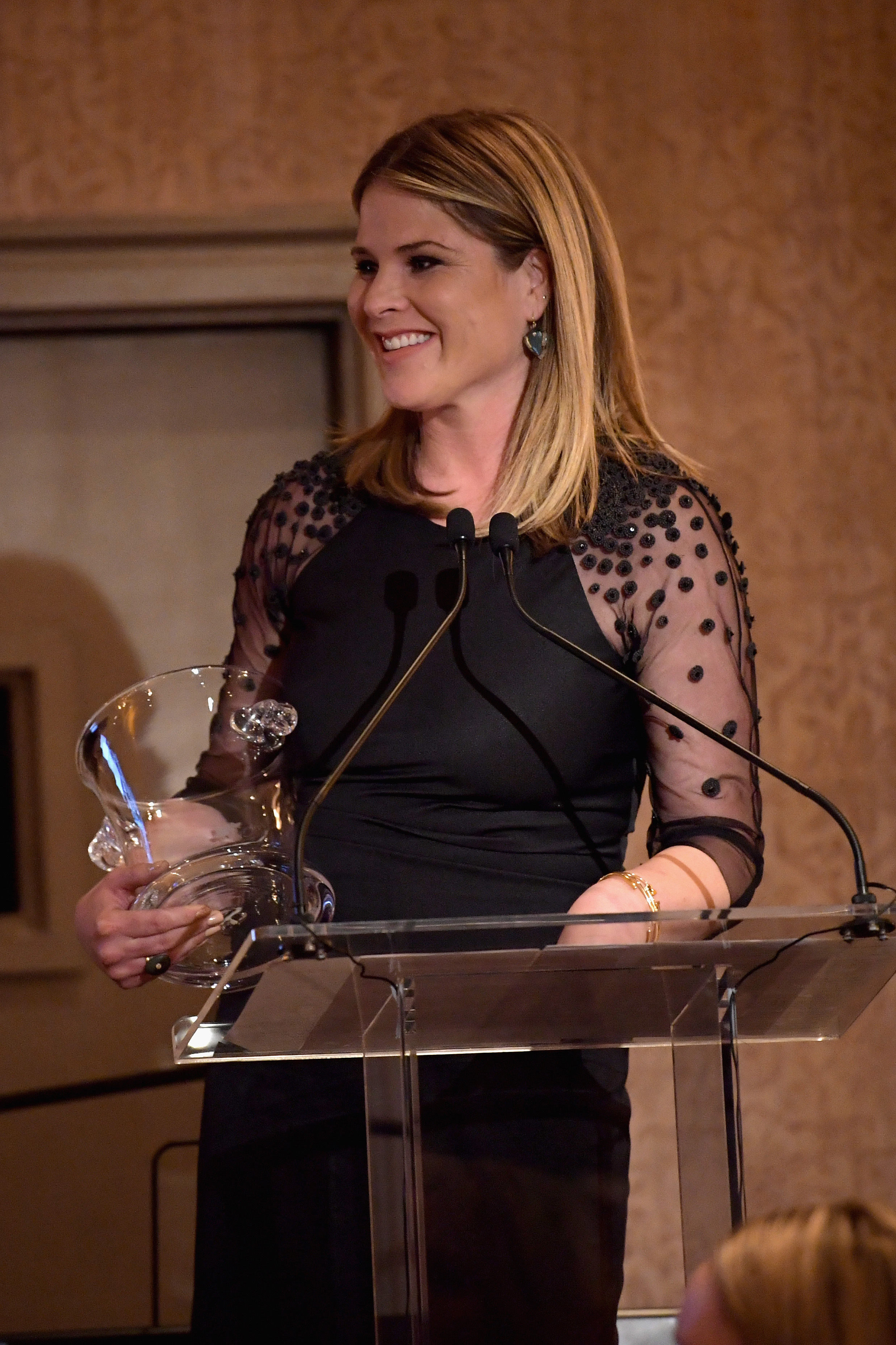 GREENWICH, CT - JUNE 01:  Jenna Bush Hager speaks on stage during the Changemaker Honoree Gala during the Greenwich International Film Festival on June 1, 2017 in Greenwich, Connecticut.  (Photo by Ben Gabbe/Getty Images for Greenwich International Film Festival)
