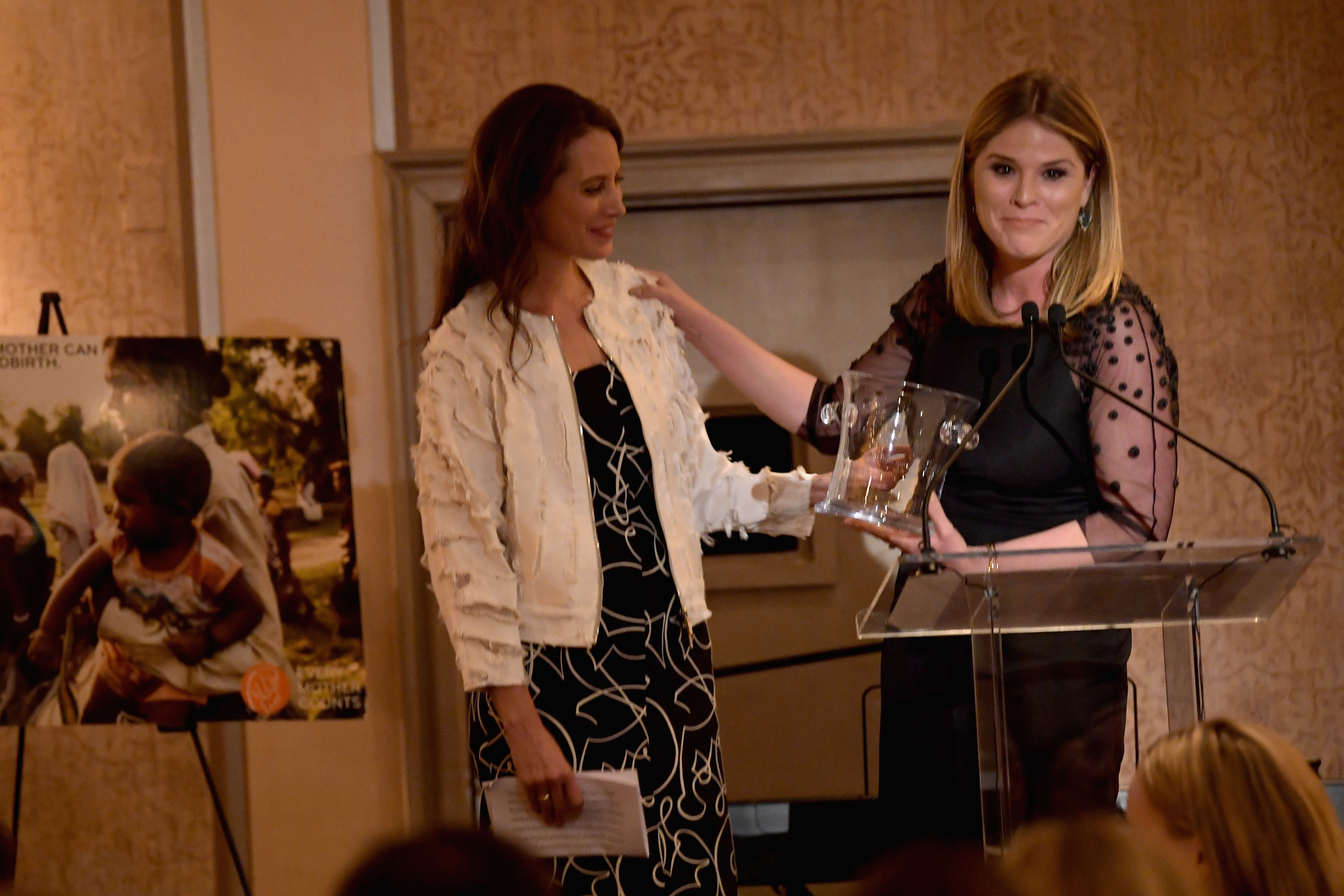 GREENWICH, CT - JUNE 01:  Christy Turlington and Jenna Bush Hager speak on stage during the Changemaker Honoree Gala during the Greenwich International Film Festival on June 1, 2017 in Greenwich, Connecticut.  (Photo by Ben Gabbe/Getty Images for Greenwich International Film Festival)