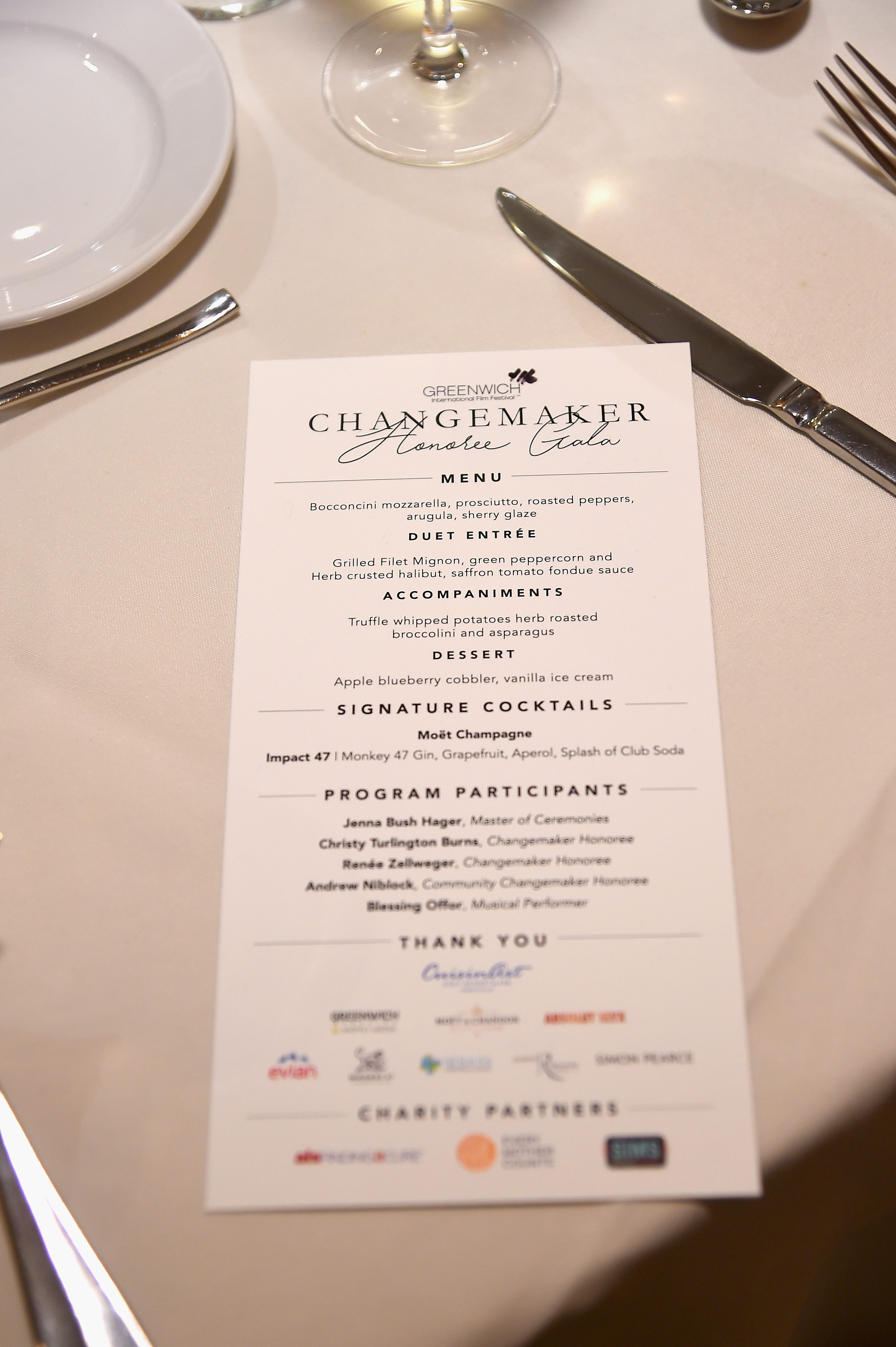 GREENWICH, CT - JUNE 01:  A view of the menu at the Changemaker Honoree Gala during the Greenwich International Film Festival on June 1, 2017 in Greenwich, Connecticut.  (Photo by Ben Gabbe/Getty Images for Greenwich International Film Festival)