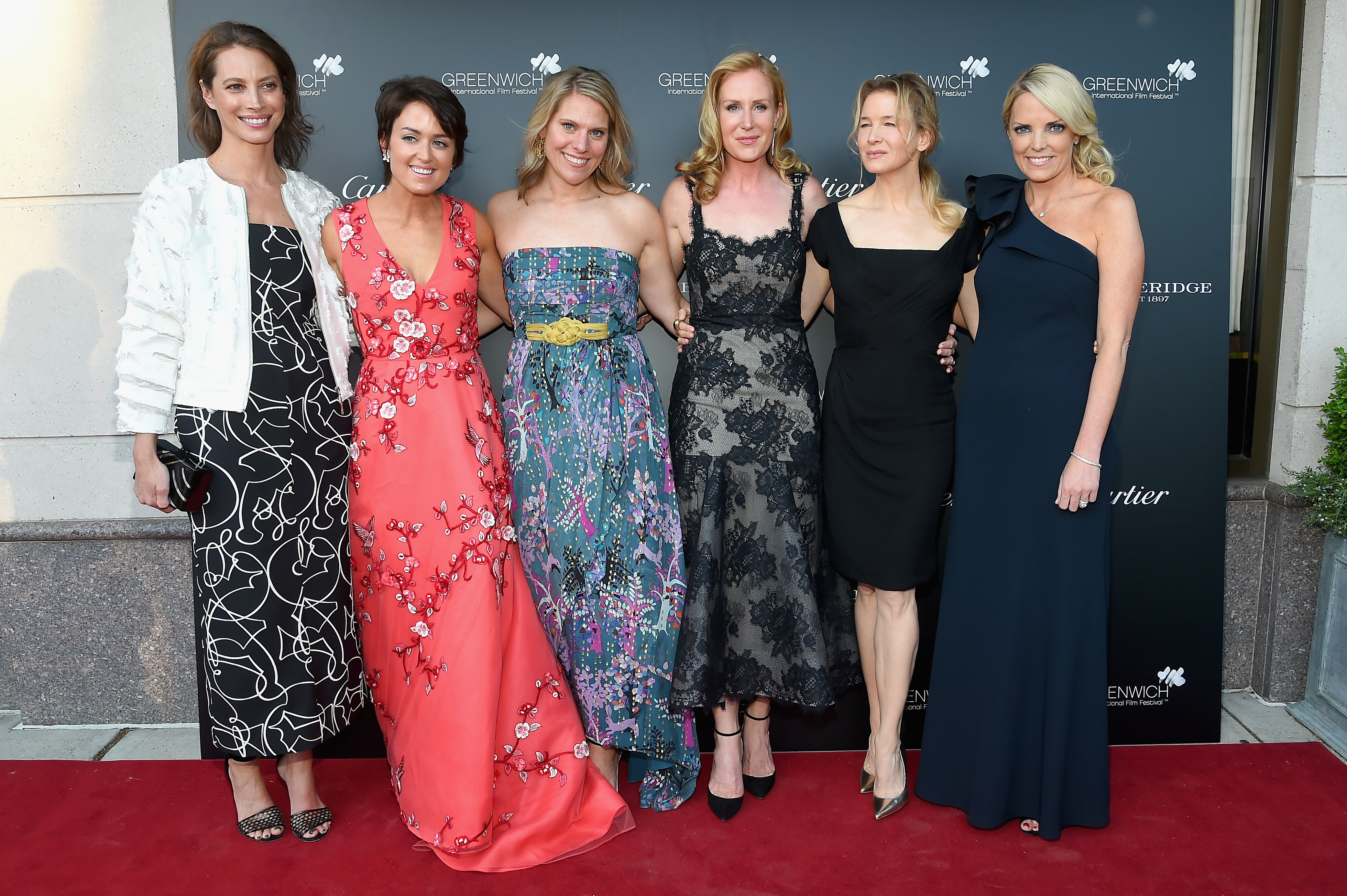 GREENWICH, CT - JUNE 01:  (L-R)  Christy Turlington, Wendy Reyes, Eliza Niblock McCrory, Colleen deVeer, Renee Zellweger and Ginger Stickel attend the Betteridge Cartier Cocktail Reception during the Greenwich International Film Festival, Day 1 on June 1, 2017 in Greenwich, Connecticut.  (Photo by Ben Gabbe/Getty Images for Greenwich International Film Festival)