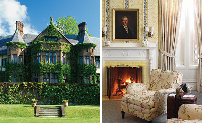 left:Step back in time to theGilded Age at Blantyre; right:A warm fire and overstuffed furnishings in the main house