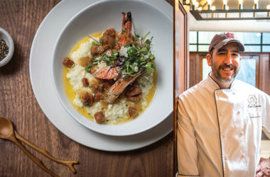 left: Shrimp and Grits; right: Culinary Director Carl Carrion
