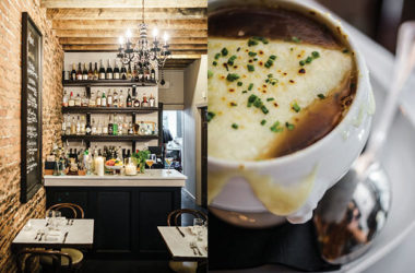 French Onion Soup Gratinée; left: A fully stocked bar serving whatever's your pleasure