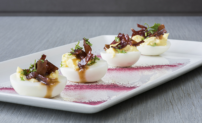 Candied turkey bacon deviled eggs