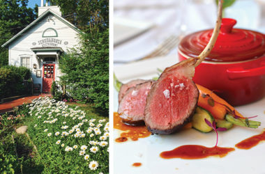 Left: The Schoolhouse restaurant exterior; Right: Spring lamb chops with roasted vegetables
