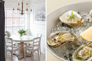 Left: Let the sun shine in! The coastal interiors are bright and welcoming;Right: Swimmingly fresh  Copps Island Oysters are served with a yuzu-ginger mignoette